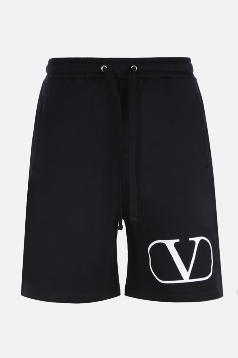 VALENTINO: VLOGO print cotton blend shorts Color Black_1