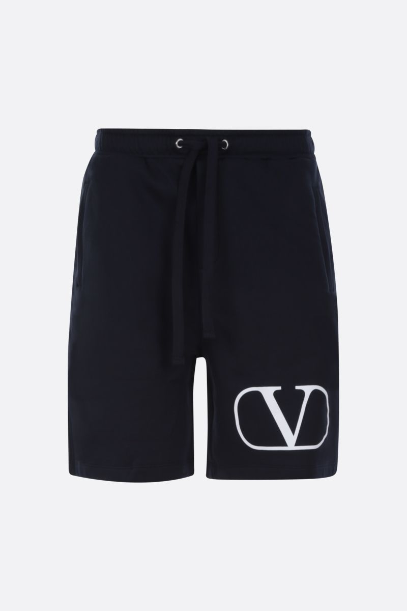 VALENTINO: VLOGO cotton blend shorts Color Blue_1
