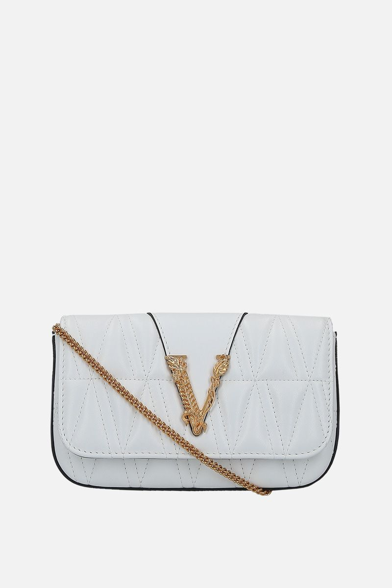 VERSACE: Virtus micro quilted nappa shoulder bag Color White_1