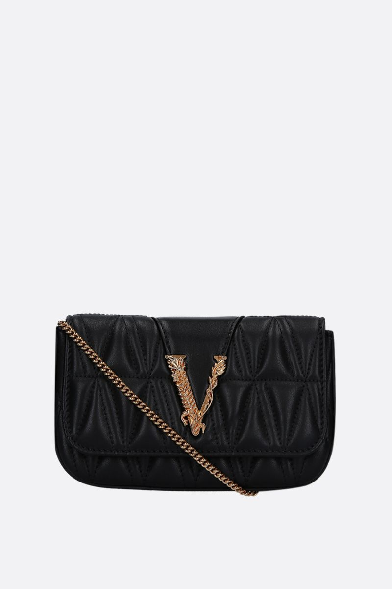 VERSACE: Virtus micro shoulder bag in quilted nappa Color Black_1