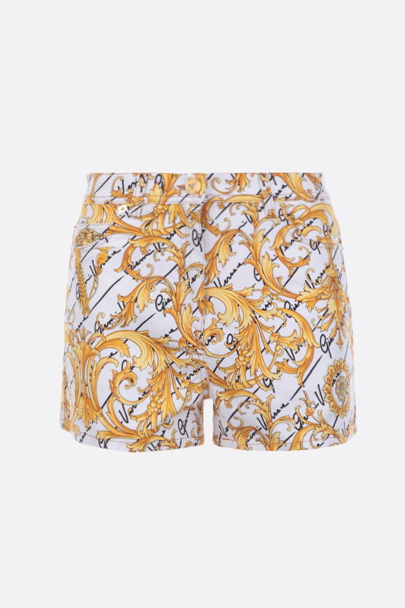 VERSACE: Barocco Signature print stretch denim shorts_1