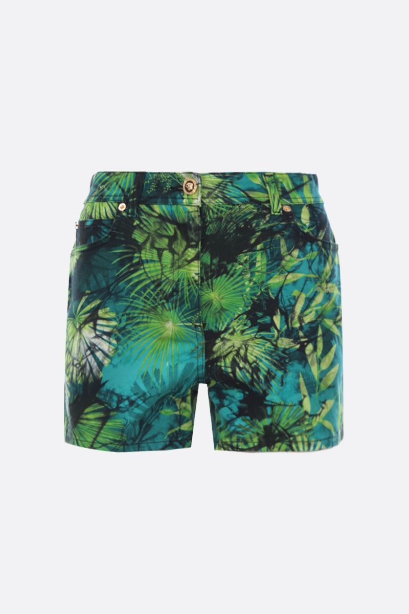 VERSACE: Jungle print stretch denim shorts Color Green_1