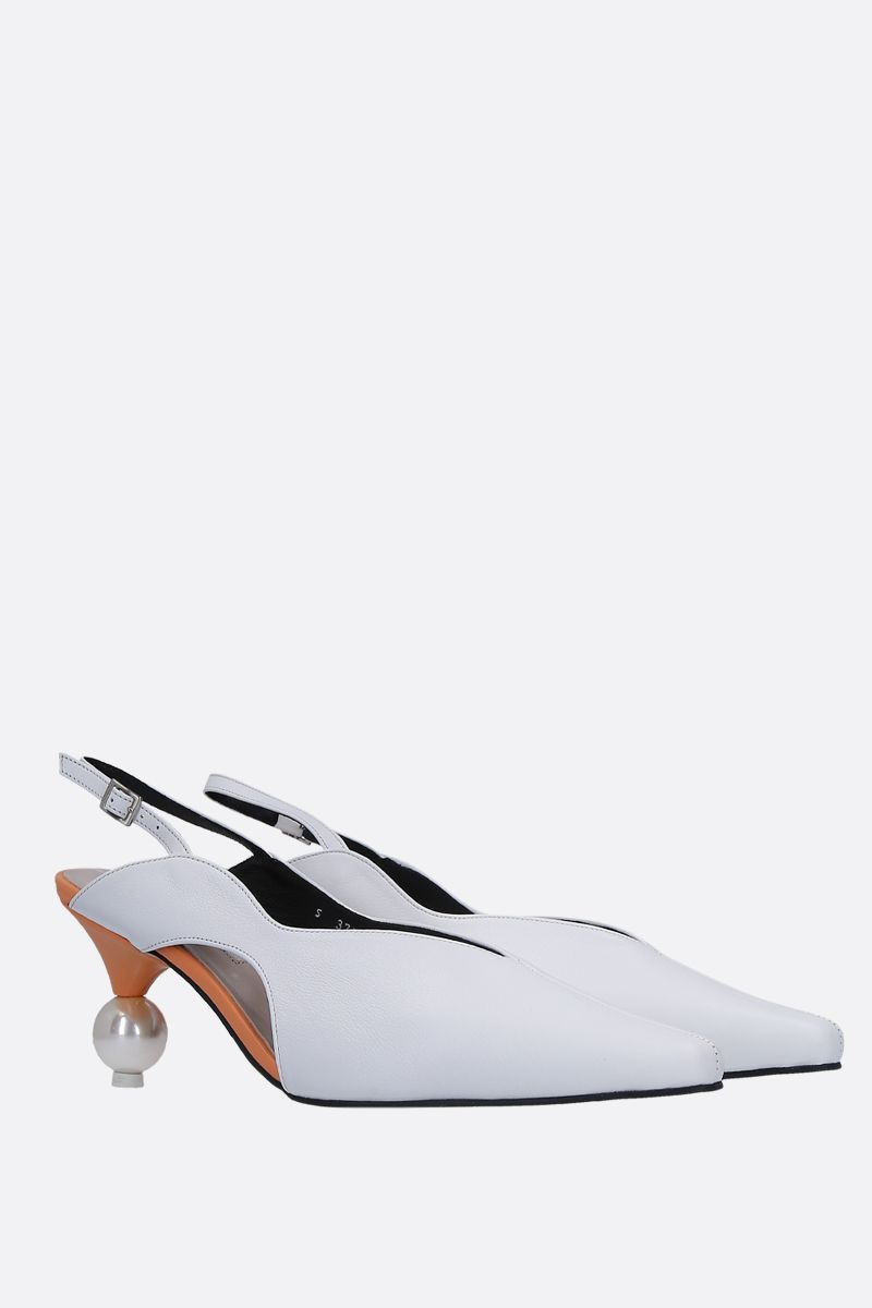 YUUL YIE: Doreen slingback in smooth leather Color White_2