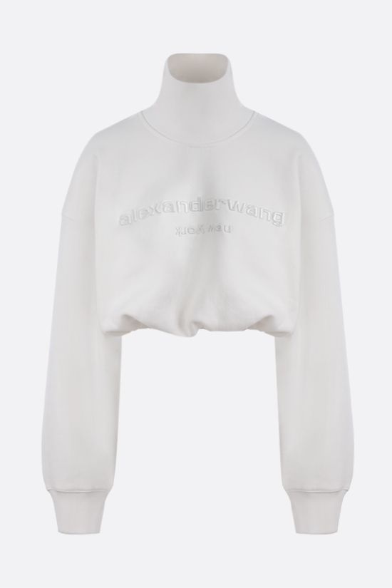 ALEXANDER WANG: logo embroidered cotton cropped sweatshirt Color White_1