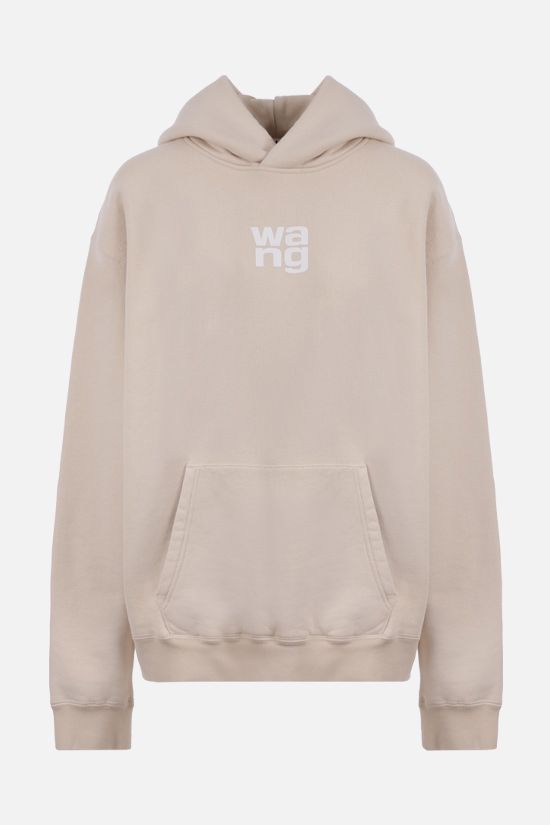 ALEXANDER WANG: oversize logo print cotton hoodie Color Grey_1