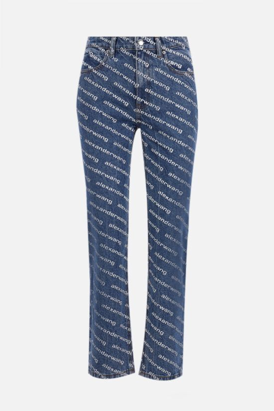ALEXANDER WANG: jeans cropped stampa logo Colore Blu_1