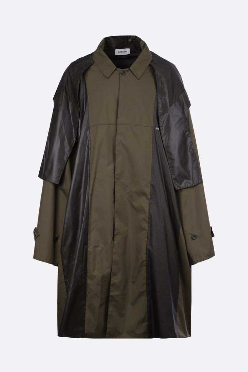 AMBUSH: oversized nylon poncho Color Green_1