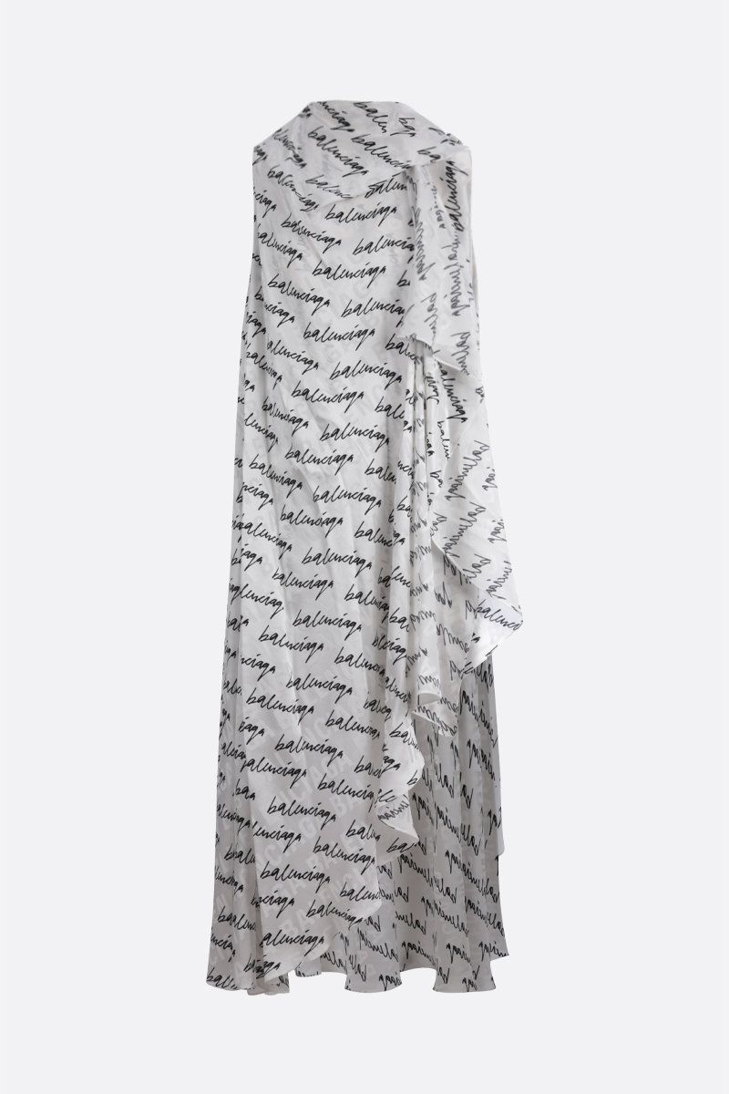 BALENCIAGA: scribble logo print silk sleeveless dress Color White_1