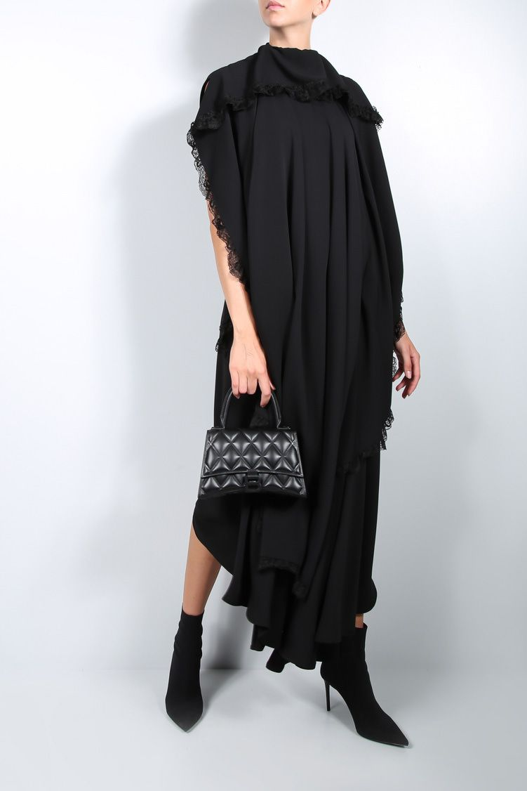 BALENCIAGA: lace-trimmed technical jersey sleeveless dress Color Black_3