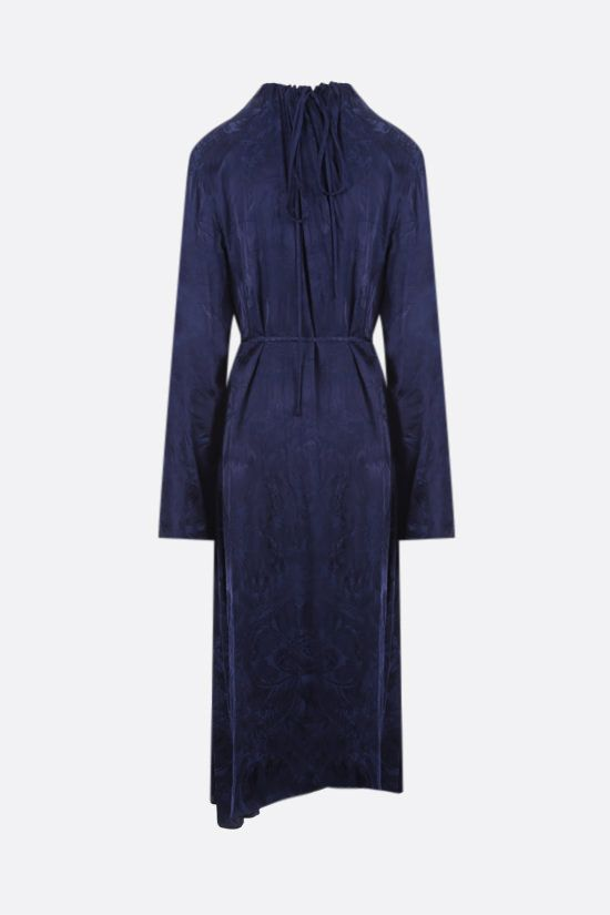BALENCIAGA: floral silk jacquard wrap dress Color Blue_2