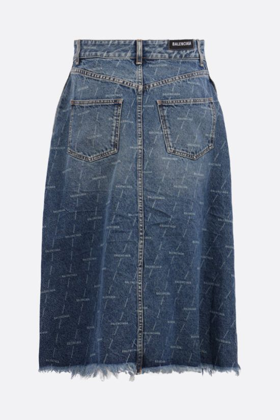 BALENCIAGA: logo print denim A-line skirt Color Blue_2