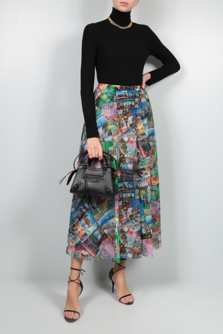 BALENCIAGA: Postcards stretch tulle A-line skirt Color Multicolor_2