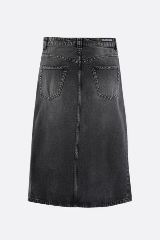 BALENCIAGA: denim A-line skirt Color Black_2
