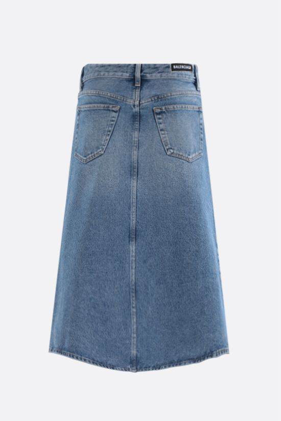 BALENCIAGA: denim A-line skirt Color Multicolor_2