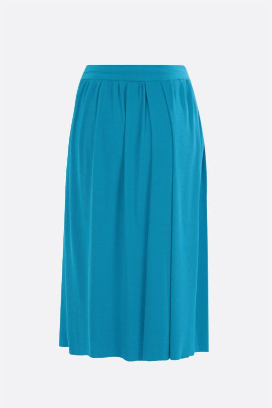 BALENCIAGA: knot-detailed technical jersey pleated skirt Color Blue_2