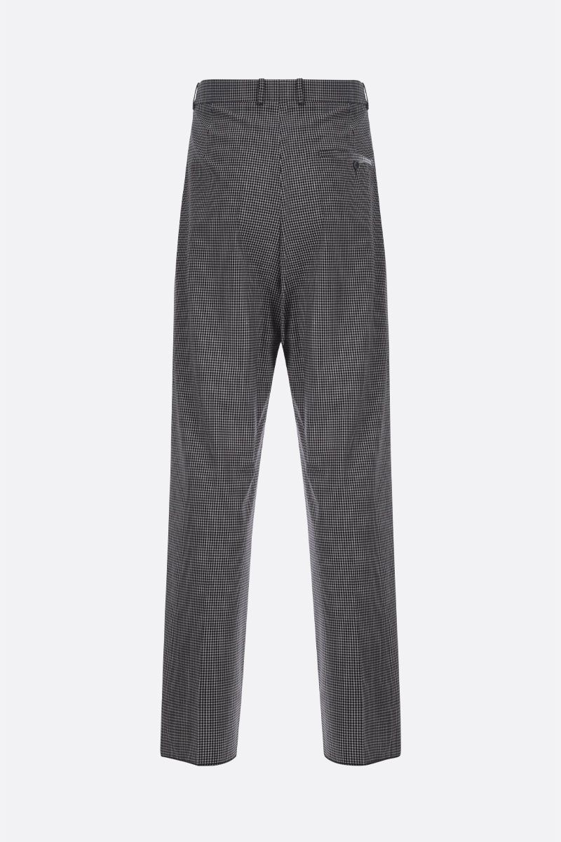 BALENCIAGA: check wool blend straight-fit pants Color Black_2
