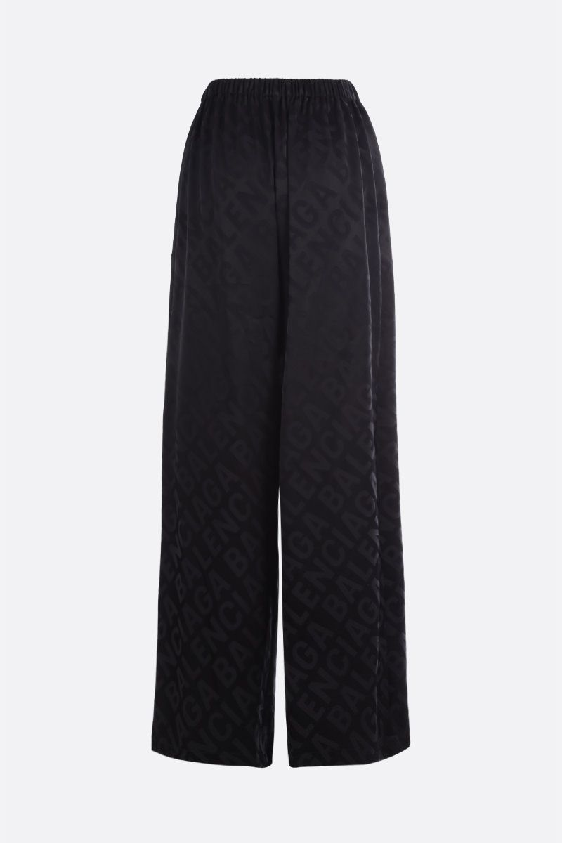 BALENCIAGA: logo-detailed satin wide-leg pants Color Black_2
