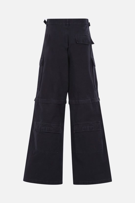 BALENCIAGA: logo-embroidered cotton cargo pants Color Black_2