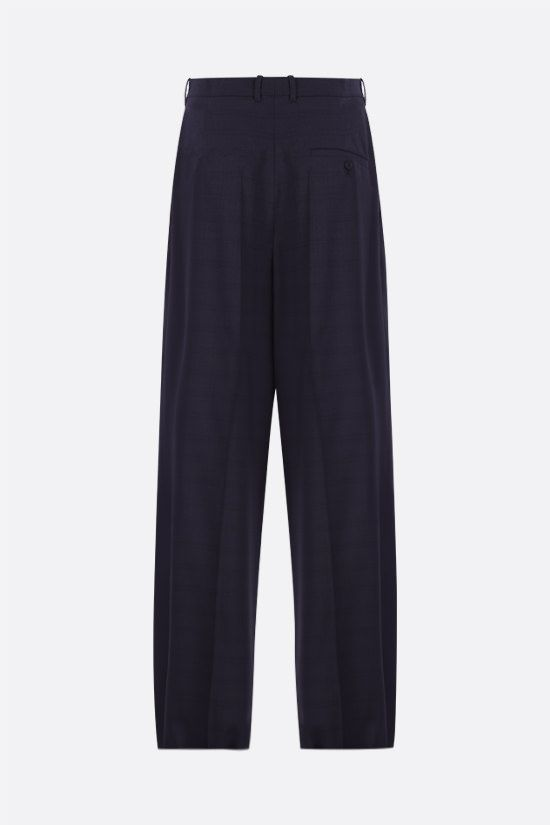 BALENCIAGA: check wool wide-leg pants Color Blue_2