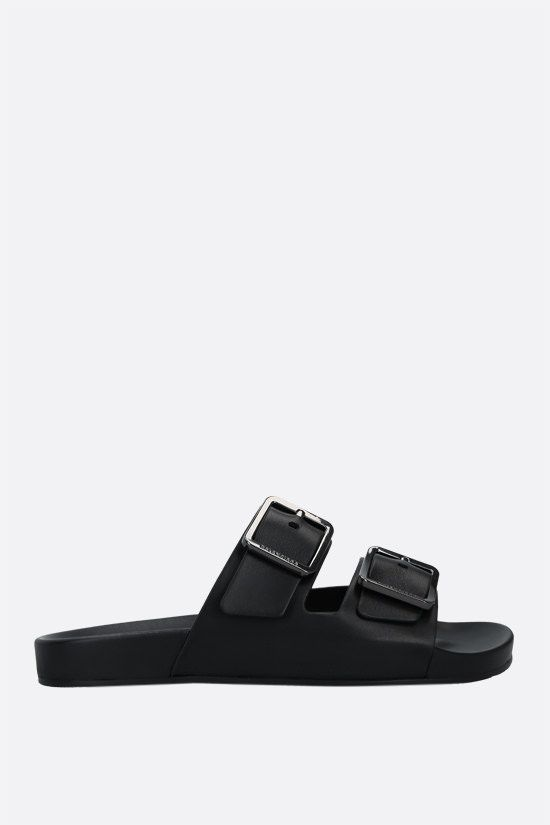 BALENCIAGA: Mallorca nappa slide sandals Color Black_1