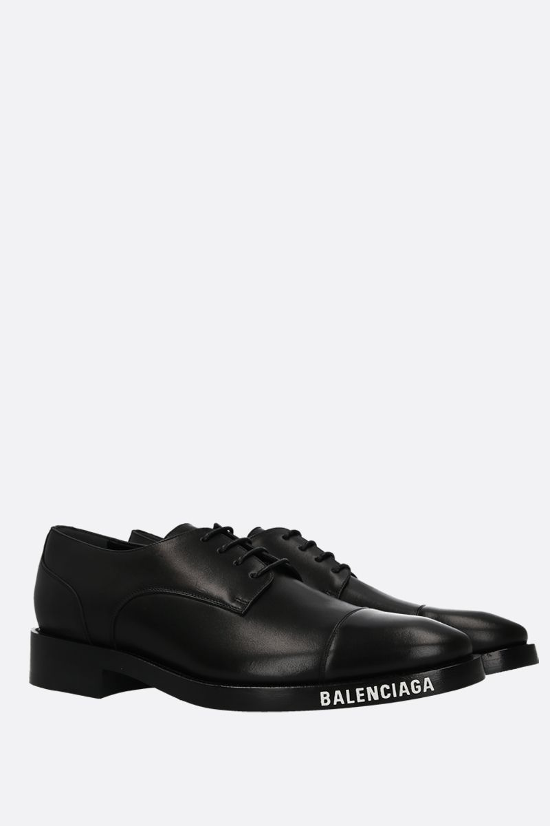 BALENCIAGA: brushed leather derby shoes Color Black_2