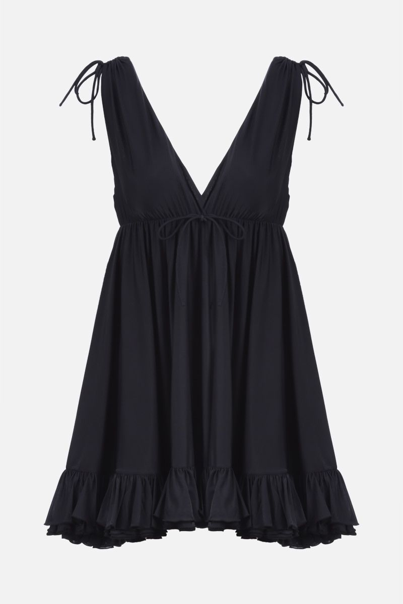 BALENCIAGA: technical jersey babydoll top Color Black_1