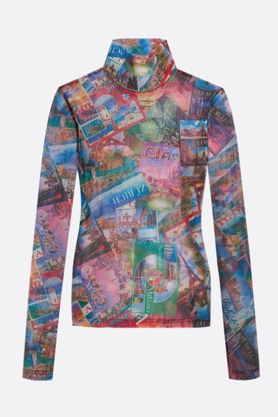 BALENCIAGA: Postcards print stretch tulle long-sleeved top Color Multicolor_1