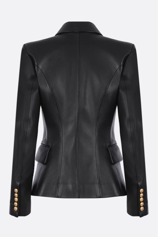 BALMAIN: double-breasted soft nappa jacket Color Black_2