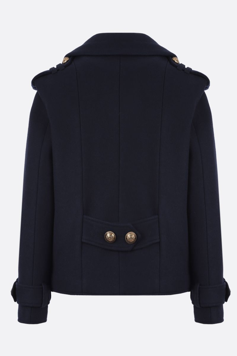 BALMAIN: wool cashmere blend double-breasted jacket Color Blue_2