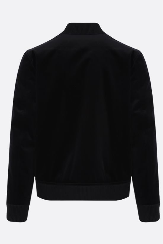 BALMAIN: star patch velvet bomber jacket Color Black_2