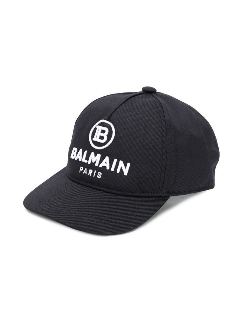 BALMAIN KIDS: Balmain logo embroidered cotton baseball cap Color Black_1