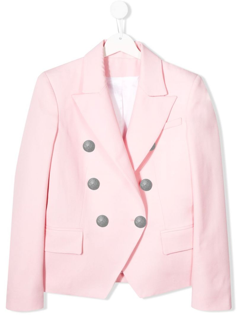 BALMAIN KIDS: double-breasted wool jacket Color Pink_1