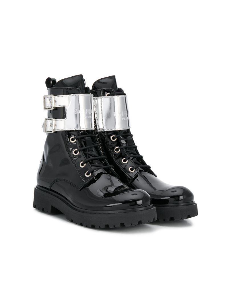 BALMAIN KIDS: logo-detailed patent leather combat boots Color Black_1