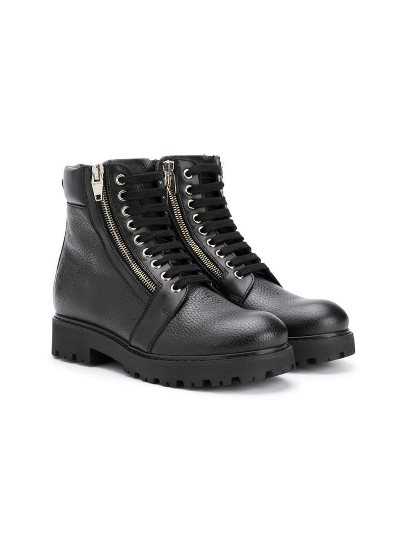BALMAIN KIDS: grainy leather combat boots Color Black_1