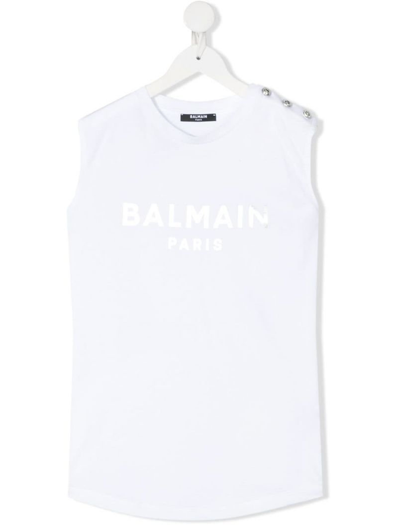 BALMAIN KIDS: Balmain logo print cotton sleeveless t-shirt Color White_1