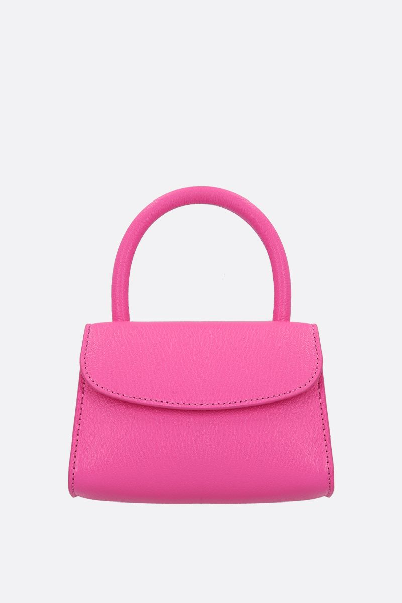 BY FAR: grainy leather mini handbag Color Pink_1