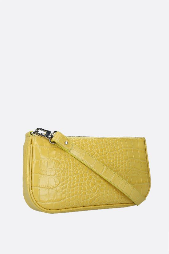 BY FAR: Rachel crocodile embossed leather shoulder bag Color Yellow_2