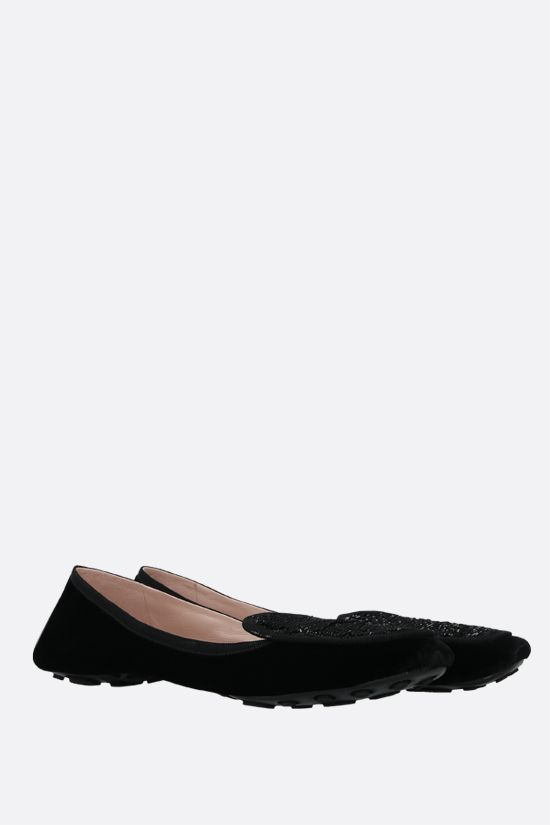 CAR SHOE: sequin-embroidered velvet ballerinas Color Black_2