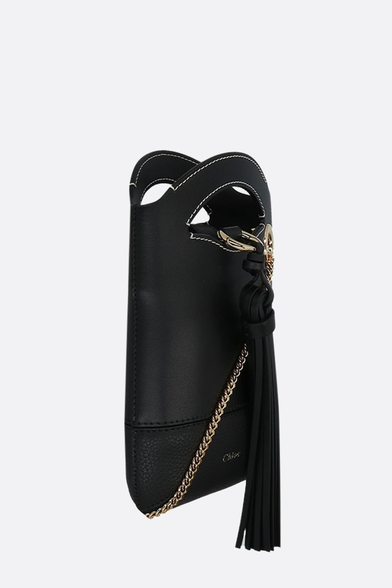 CHLOÈ: Walden smooth and grainy leather smartphone holder Color Black_2