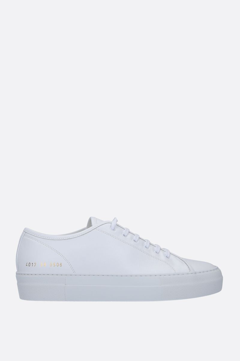 COMMON PROJECTS: Tounament smooth leather flatform sneakers Color White_1