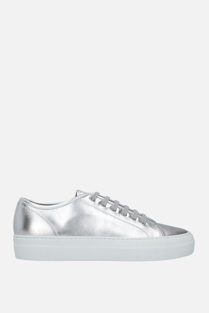 COMMON PROJECTS: Tournament laminated leather flatform sneakers_1