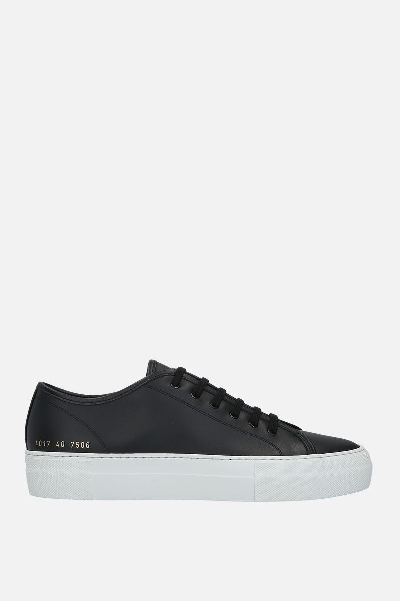 COMMON PROJECTS: sneaker flatform Tounament in pelle liscia Colore Nero_1
