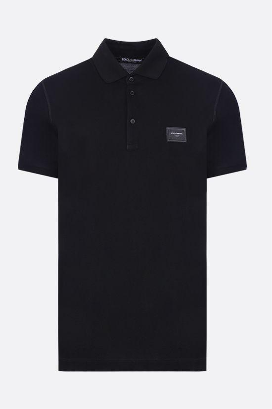 DOLCE & GABBANA: logo plaque-detailed piquet polo shirt Color Black_1