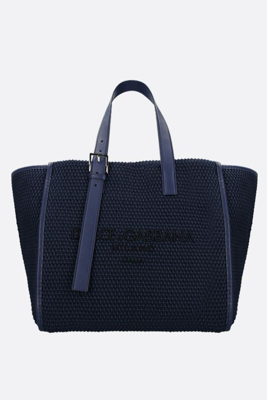 DOLCE & GABBANA: logo embroidered braided rope tote bag Color Blue_1