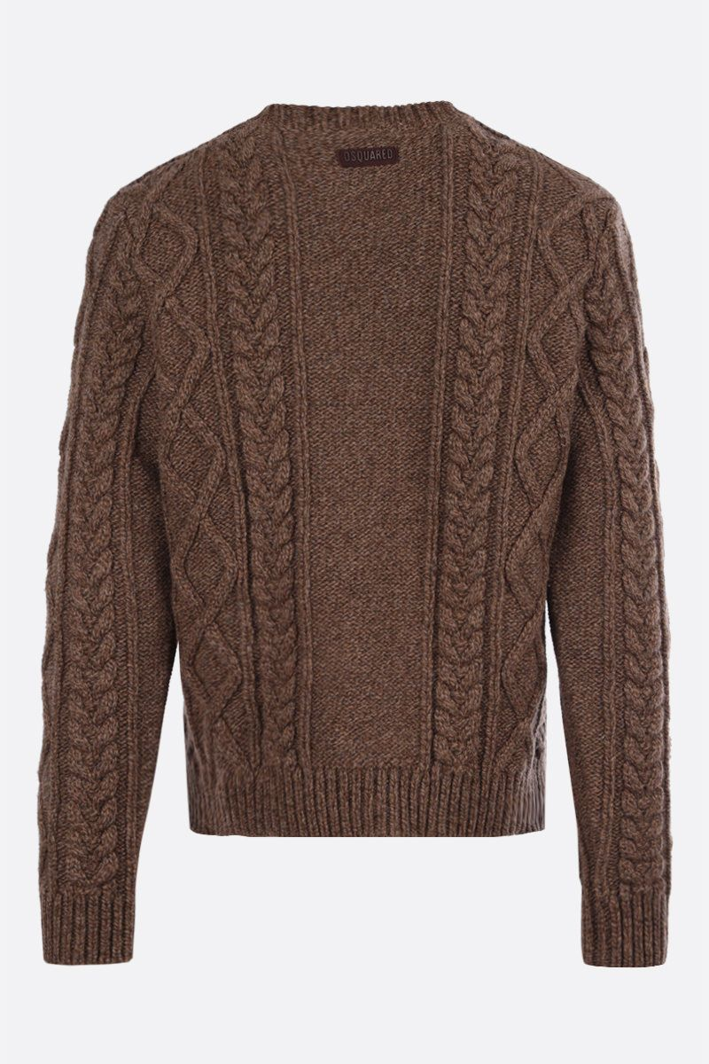 DSQUARED2: wool cable knit pullover Color Brown_2