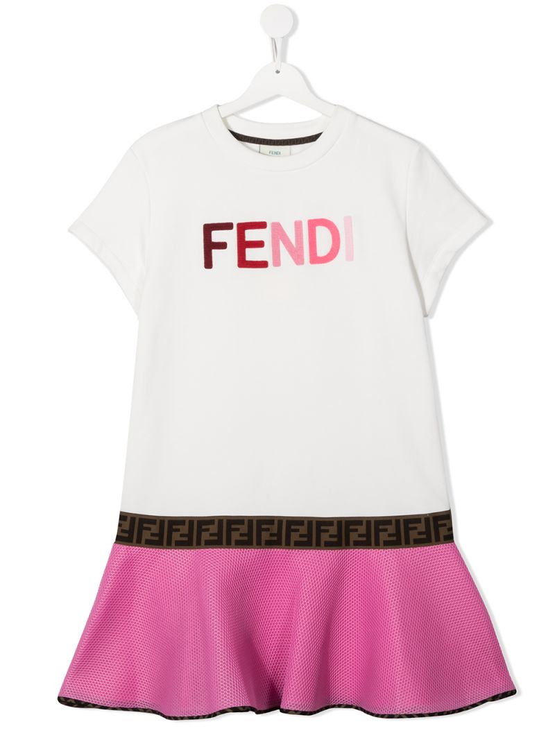 FENDI KIDS: logo embroidered cotton and mesh dress Color Neutral_1
