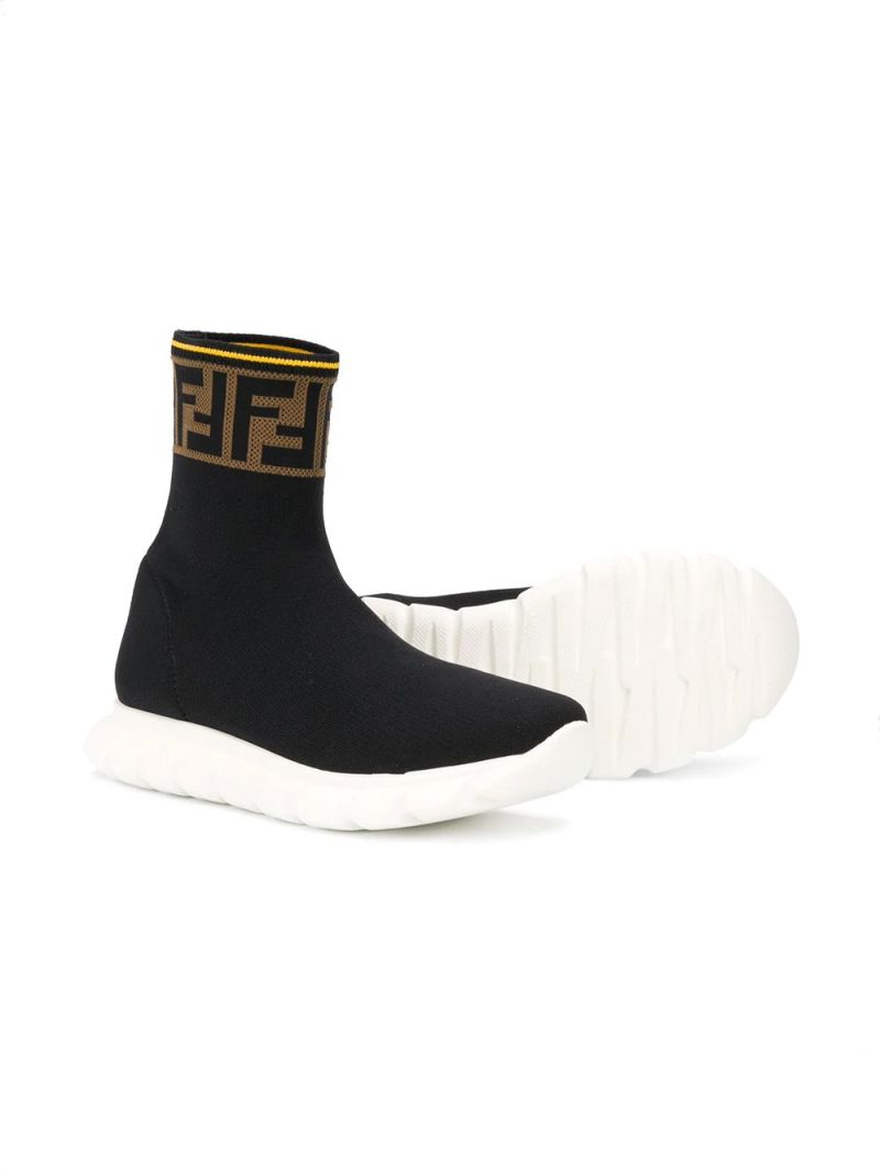 FENDI KIDS: FF-detailed stretch knit sneakers Color Black_2