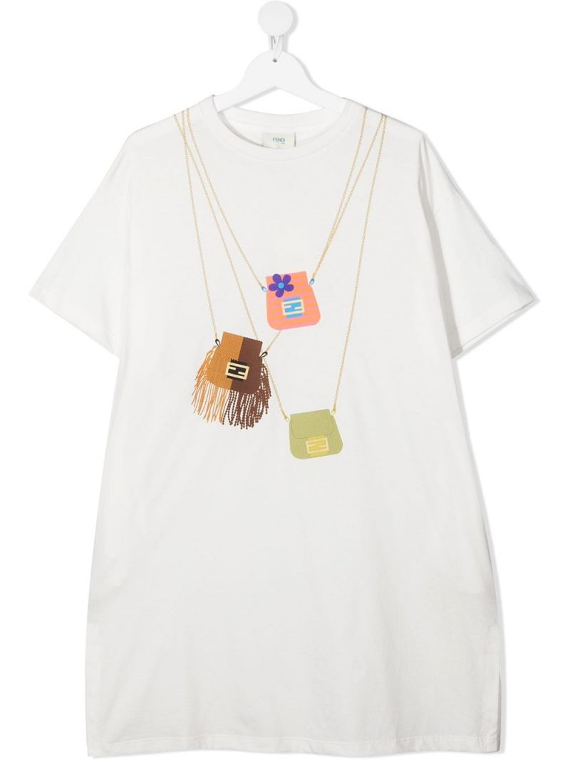 FENDI KIDS: Fendi Bags print cotton dress Color Neutral_1
