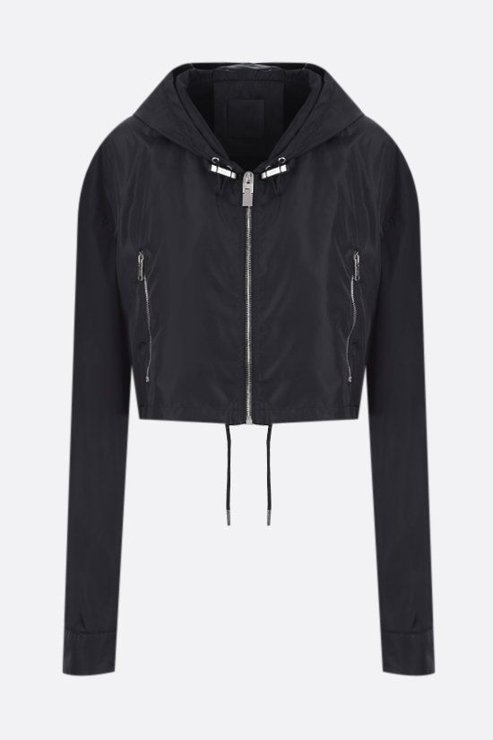 GIVENCHY: logo print nylon cropped windbreaker Color Black_1