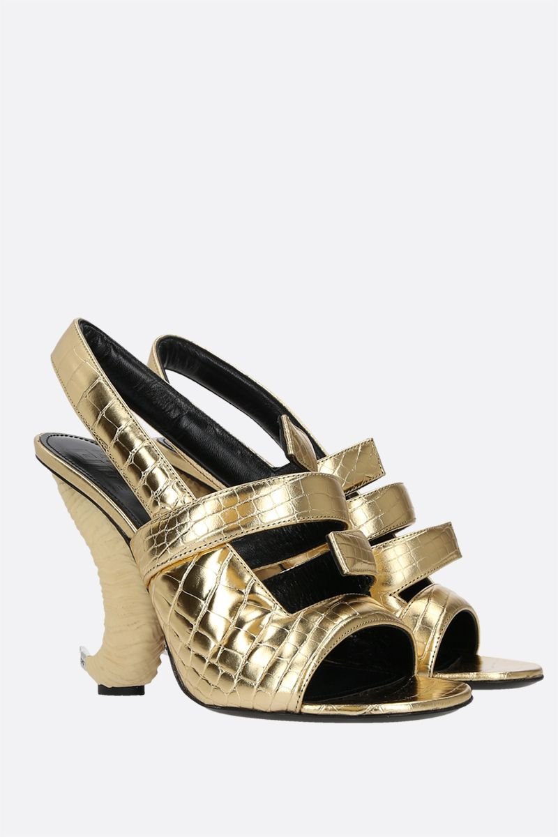 GIVENCHY: horn heel crocodile embossed leather sandals Color Gold_2